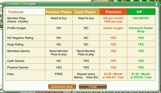 The  pop-up window shows details of the packages Mahjong Time  offers