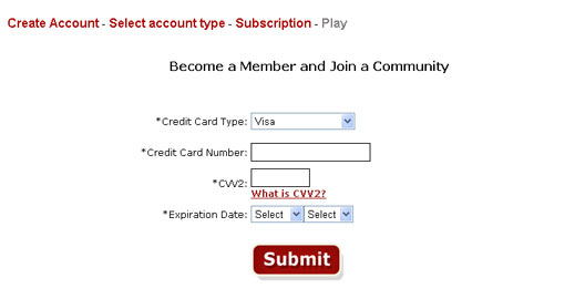 If you have chosen to pay by credit card on the next page you have to provide the credit card info.